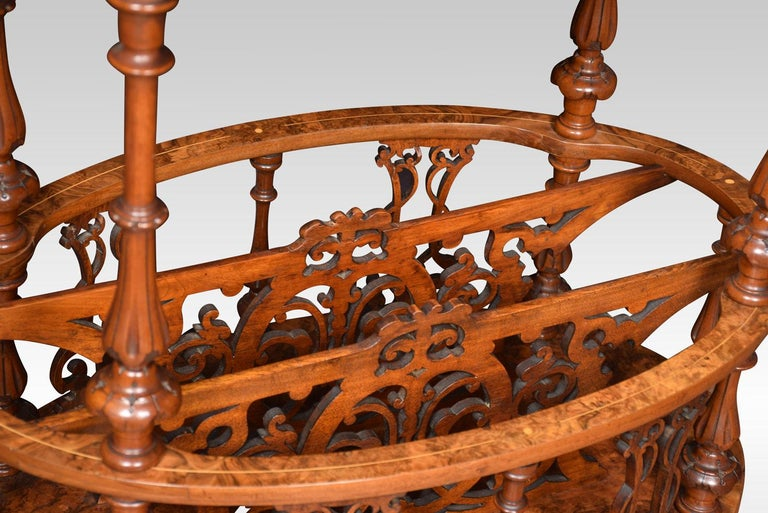Walnut and Inlaid Oval Canterbury In Excellent Condition For Sale In Cheshire, GB