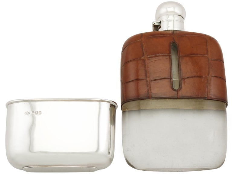 Early 20th Century 1925 Antique Sterling Silver and Crocodile Skin Hip Flask For Sale