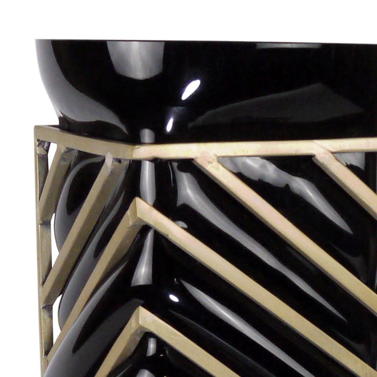 Enlace Black Glass Roundy Vase In New Condition For Sale In Paris, FR