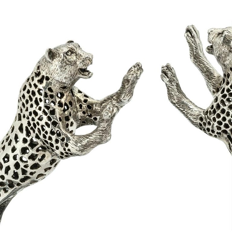 Leopard Set of Two Bookend in Silver Plated Brass In Excellent Condition For Sale In Paris, FR