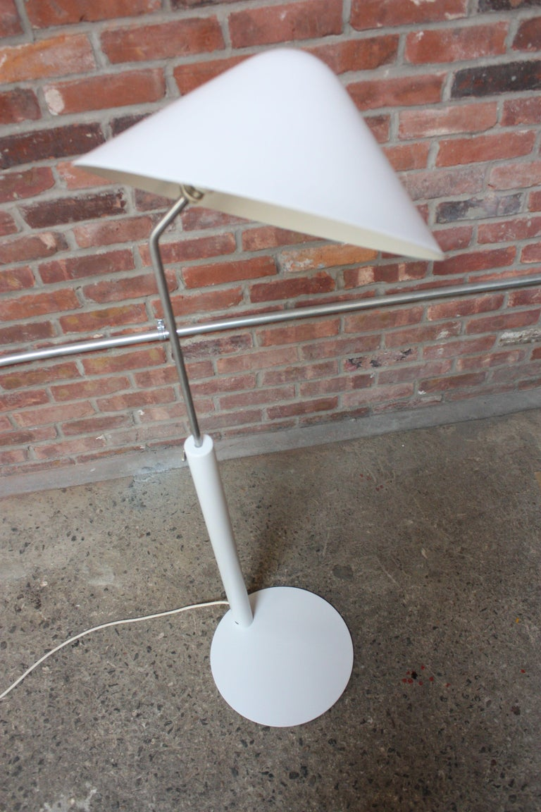 Painted Jørgen Gammelgaard Floor Lamp in Aluminum and Chrome For Sale