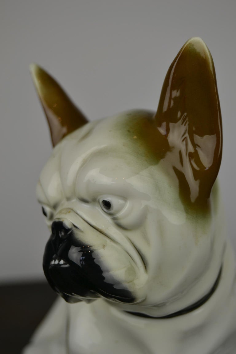 Art Deco Sitzendorf Porcelain French Bulldog Figurine In Good Condition For Sale In Antwerp, BE