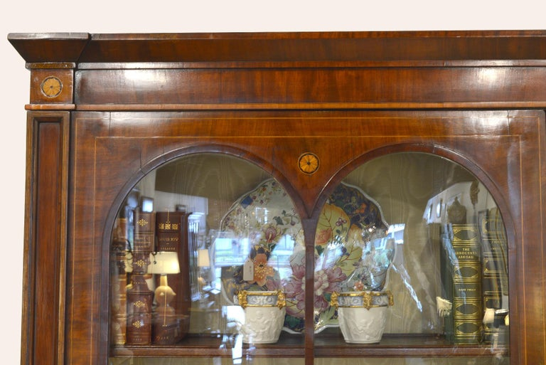Glass Fine English William IV Mahogany Library Bookcase with Double Arch Glazed Doors