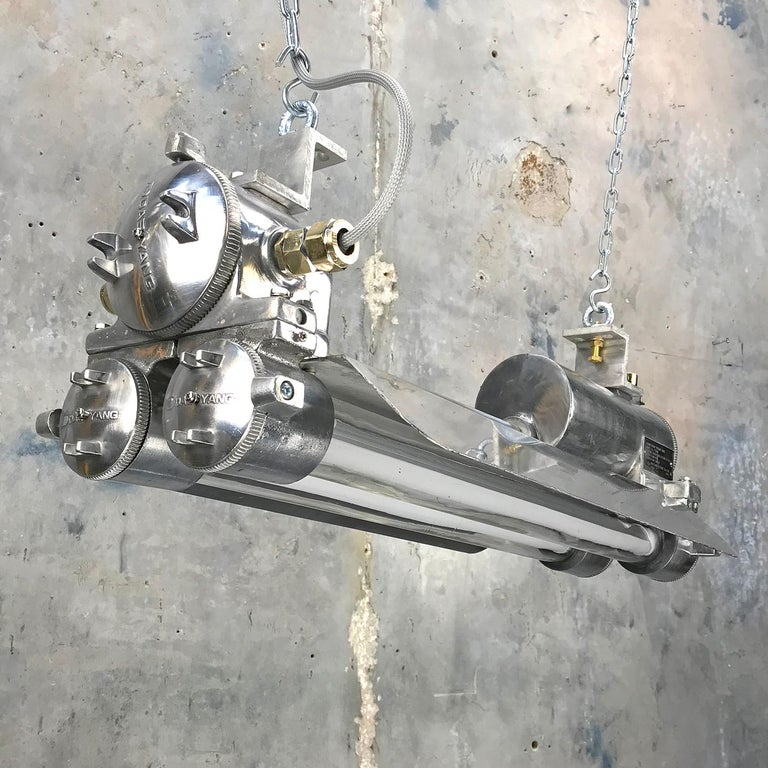 20th Century 1970s Industrial Cast Aluminium, Glass and Brass Flameproof Strip Light & Shade For Sale