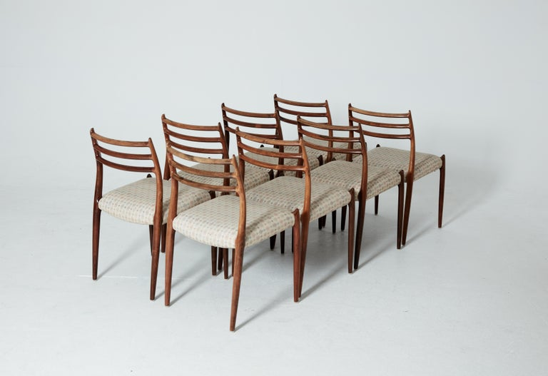 Set of Eight Model 78 Rosewood Chairs by Niels O. Møller, Denmark, 1960s In Good Condition For Sale In London, GB