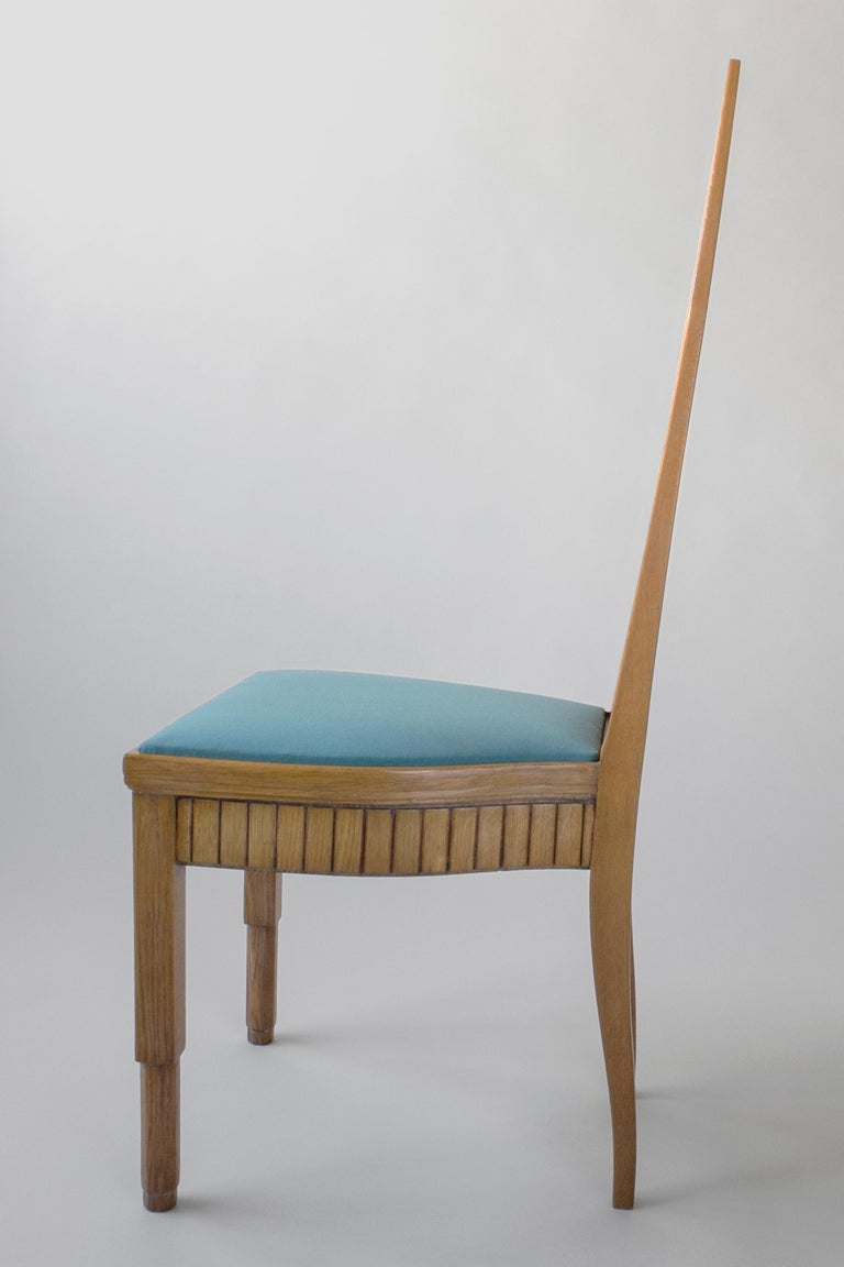 20th Century Set of Finnish Intricately Carved High Back Oak Jugend Chairs, Six Available For Sale