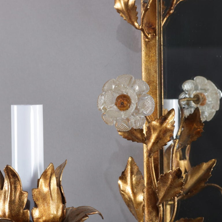 20th Century Vintage Italian Gilt Foliate & Crystal Double Candle Light Sconce Display For Sale