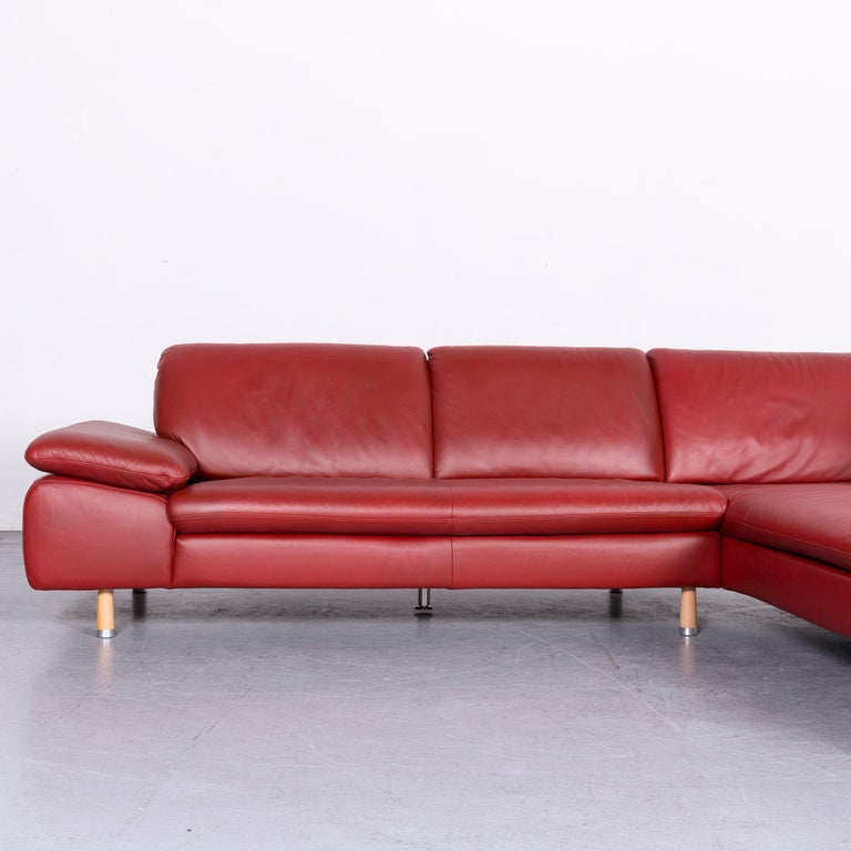 Willi Schillig Designer Leather Corner Sofa Red Corner-Couch
