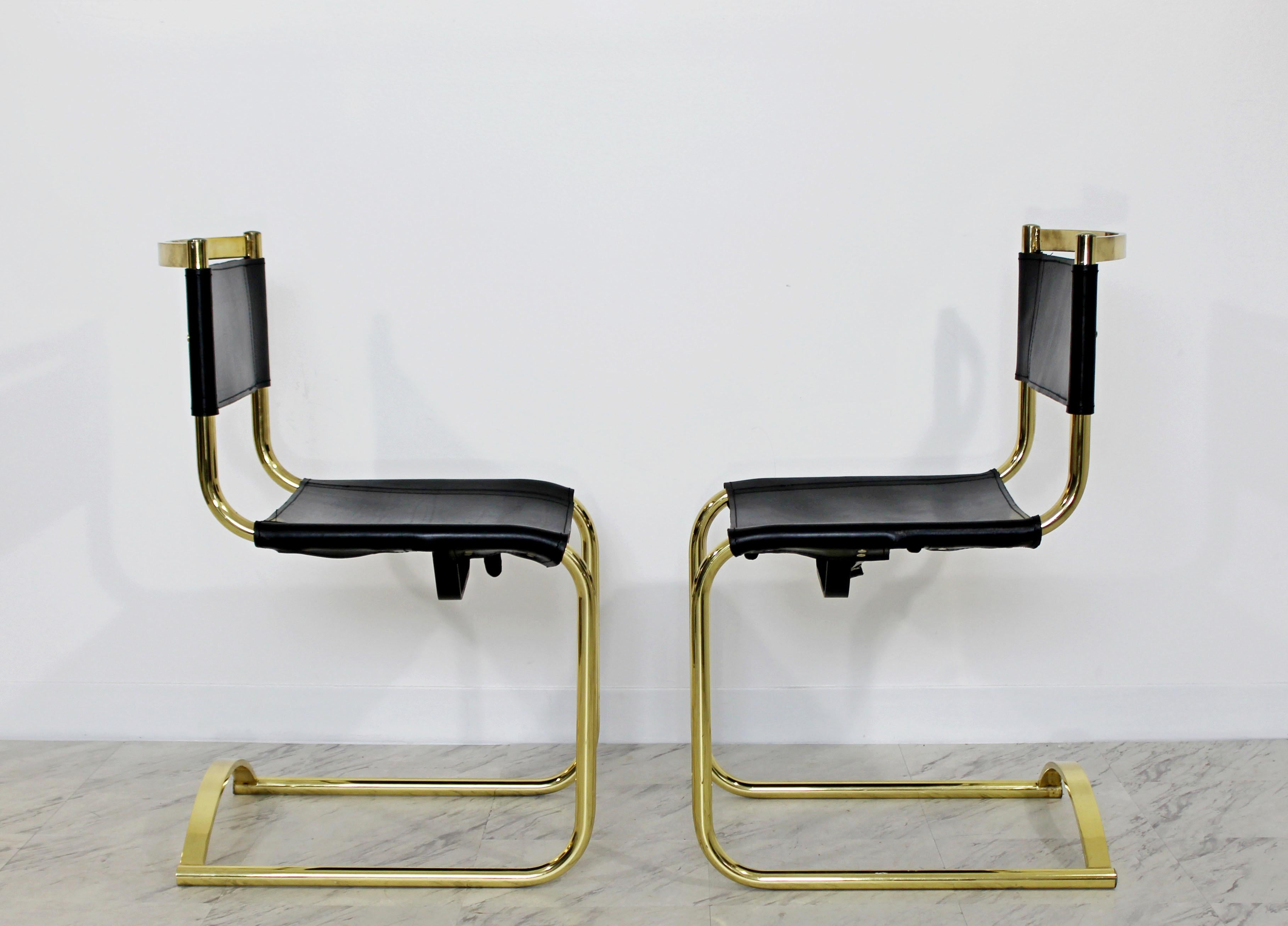 e01b0cad0f72 Mid-Century Modern 8 Brass Black Leather Side Dining Chairs Breuer Mies Era  For Sale at 1stdibs