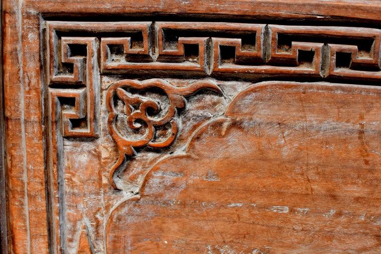 19th Century Chinese Antique Solid Wood Carved Plaque with a Rose For Sale