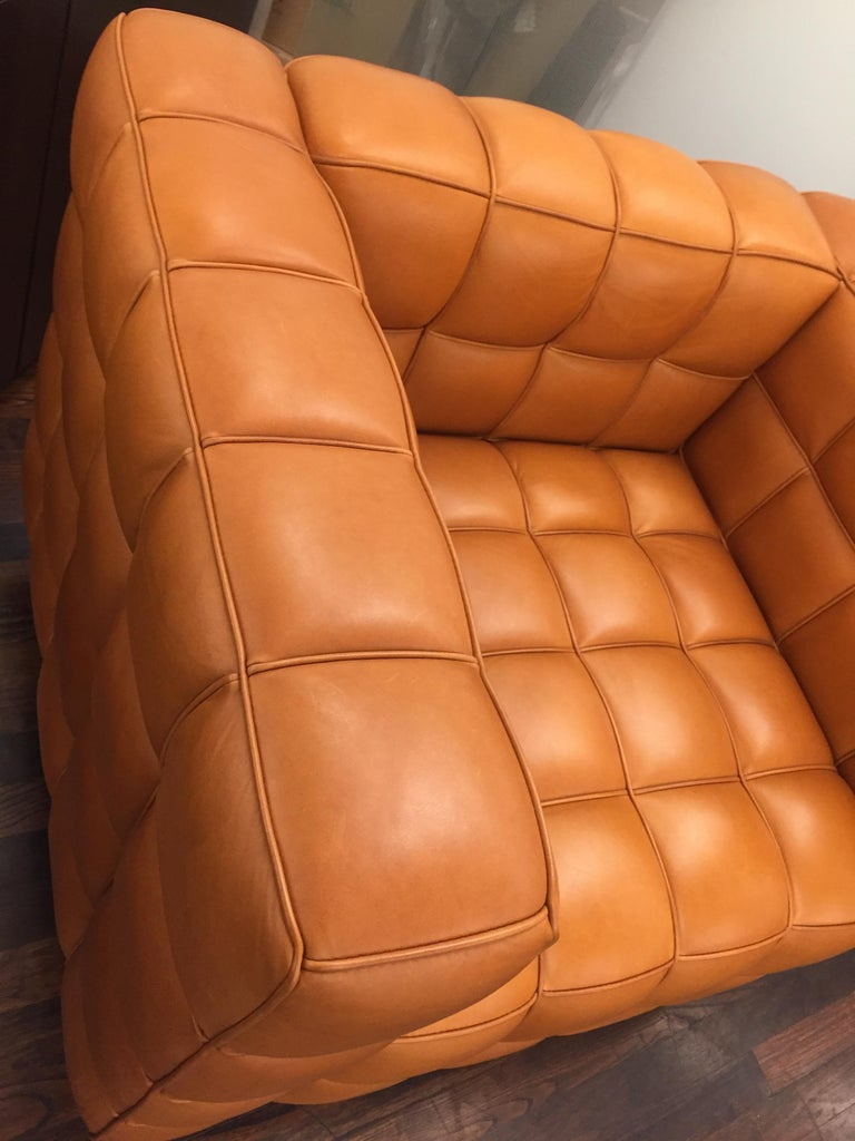 Natural Leather Kubus Design by Josef Hoffmann In New Condition For Sale In New York, NY