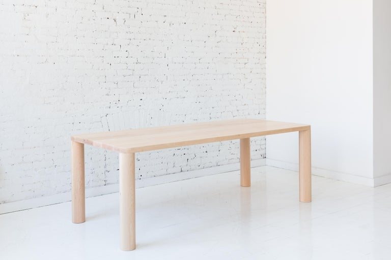 Contemporary Wood Corner Leg Column Dining Table in White Oak by Fort Standard In New Condition For Sale In Brooklyn, NY