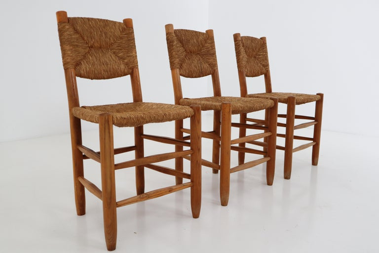 "Three ""Bauche"" Chairs by Charlotte Perriand for Steph Simon, France 1950s In Good Condition For Sale In Almelo, NL"
