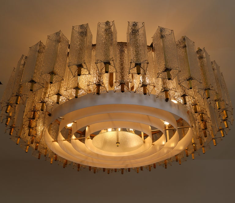 Three Extra Large Midcentury Chandeliers in Structured Glass and Brass, Europe In Good Condition For Sale In Almelo, NL