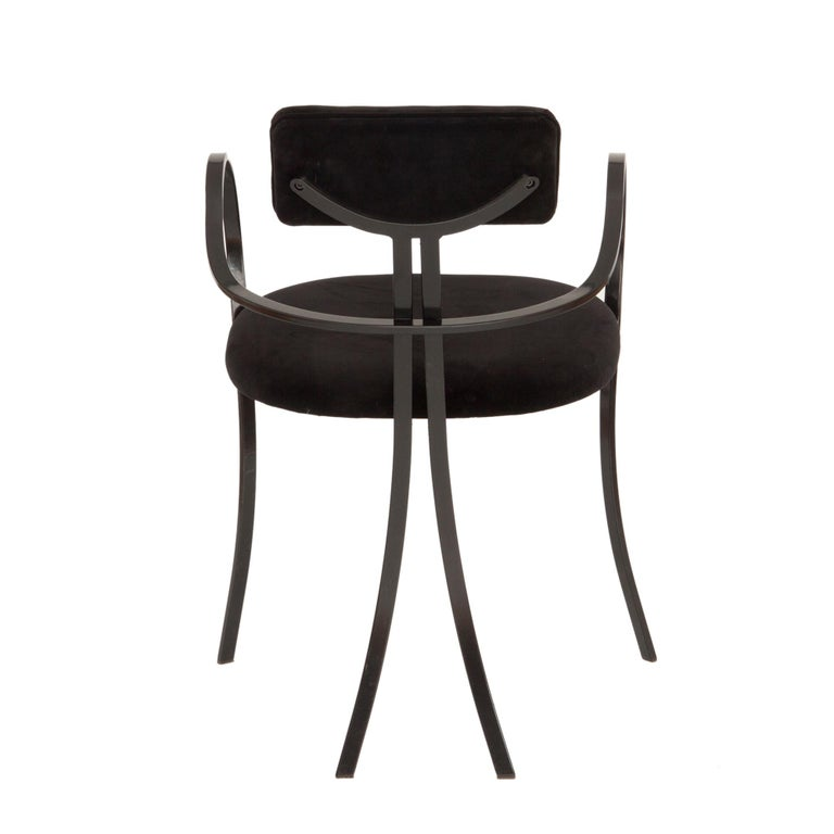 Hand-Crafted Contemporary Violet Chair with Velvet Seat and Seatback in Black Color For Sale