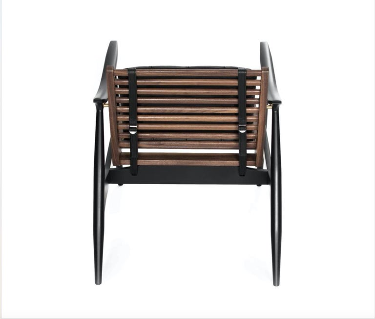 Hand-Carved Atra Armchair, Walnut and Mahogany with Leather Pads by Atra For Sale