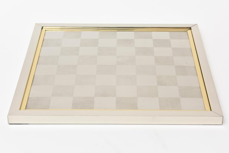 Late 20th Century   Romeo Rega Brass and Chrome Plated Checkers Game Italian Signed For Sale