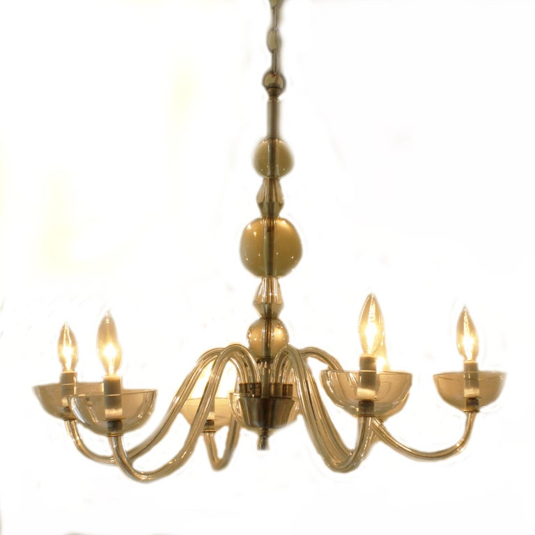 Glass French Chandelier in the Style of Jacques Adnet, circa 1940 For Sale