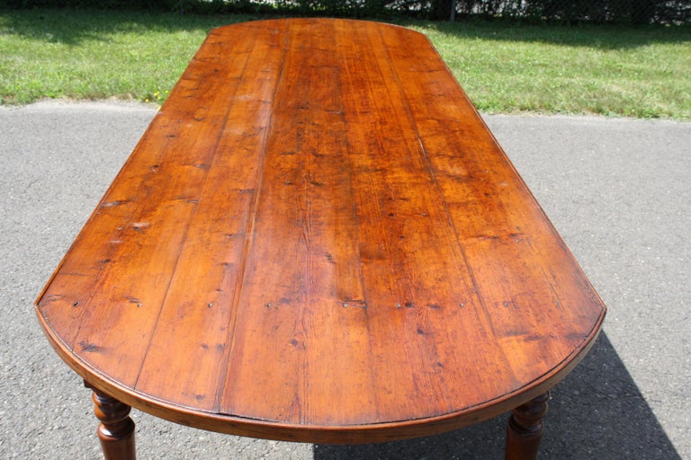 Hand-Crafted Knotted Pine Planked 'Demi-Ended' Farm Table For Sale