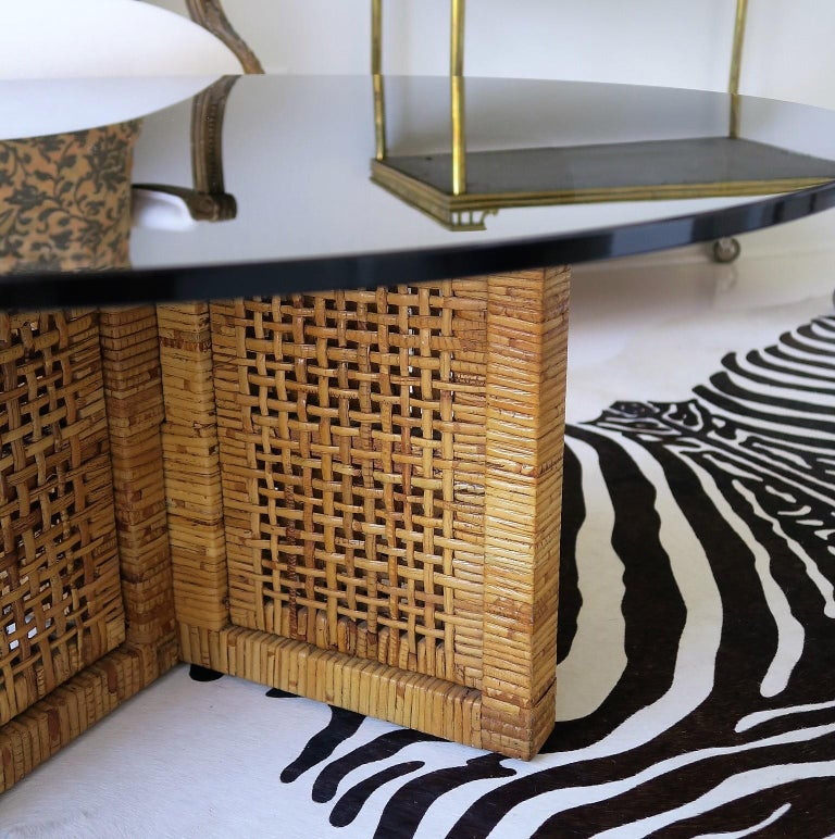 Woven Bamboo/Rattan Round Coffee Table, Smoked Glass Top, Italy, 1960s In Excellent Condition For Sale In New York, NY