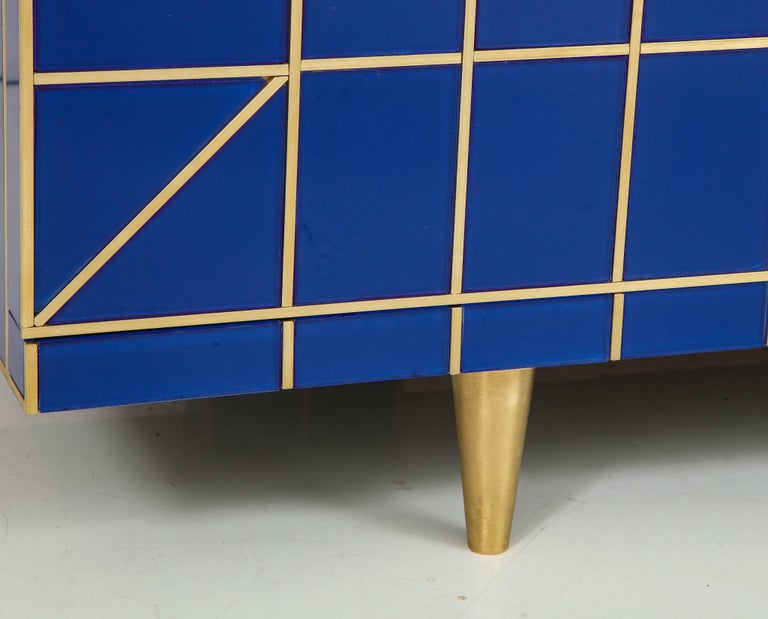 Hand-Crafted Cobalt Blue Glass with Brass Inlay Mirrored Sideboard, Spain, Signed