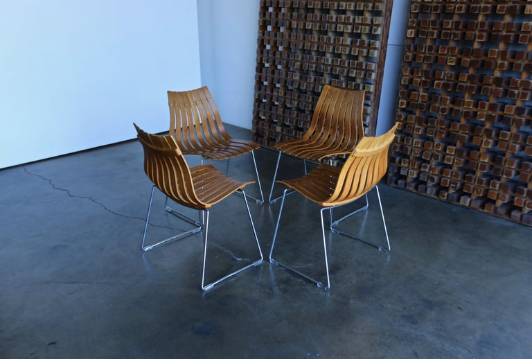 Hans Brattrud Scandia Dining Chairs for Hove Mobler, Norway In Good Condition For Sale In Costa Mesa, CA