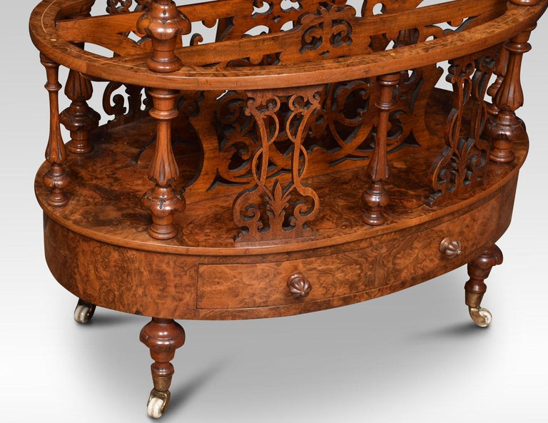 19th Century Walnut and Inlaid Oval Canterbury For Sale