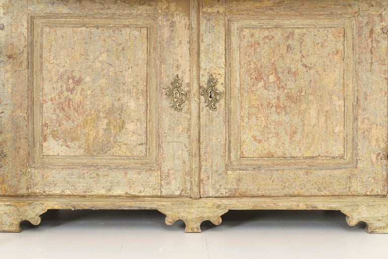 18th Century and Earlier 18th Century Swedish Baroque Period Secretary with Library in Original Paint For Sale