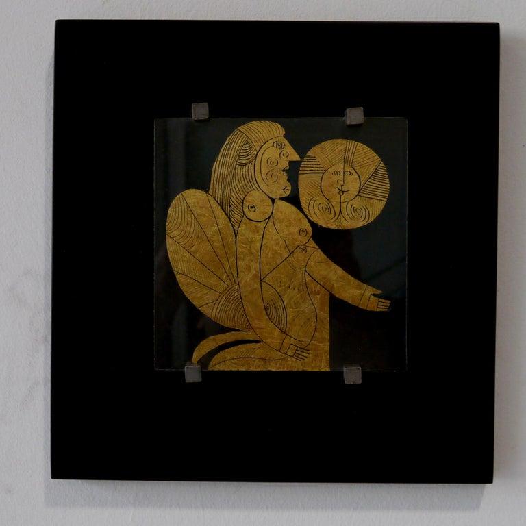 Gilt Roger Capron, Gilded Glass, Unique Piece, France, circa 1995 For Sale