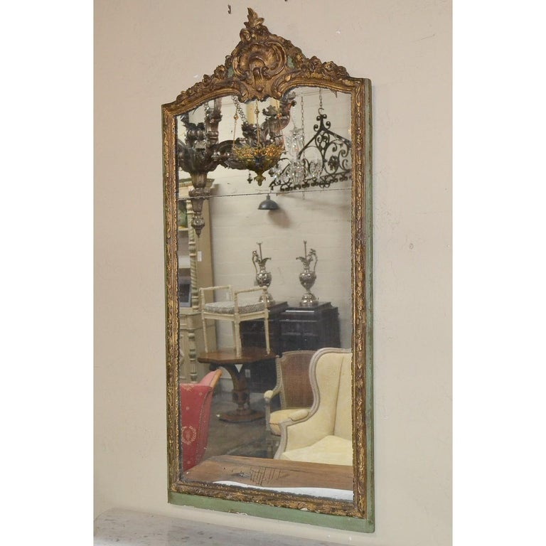 Late 18th Century 18th Century French Regence Parcel Gilt Mirror For Sale