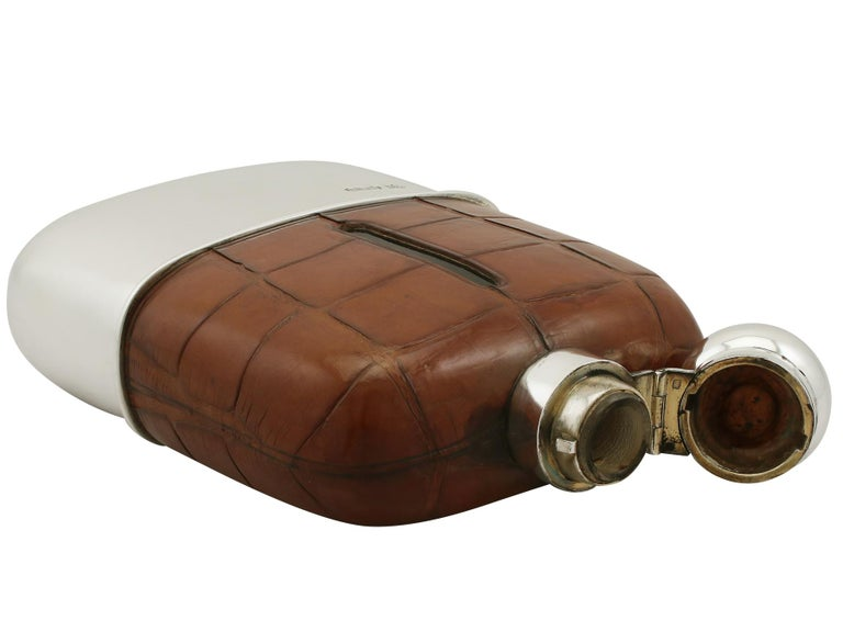 1925 Antique Sterling Silver and Crocodile Skin Hip Flask For Sale 1