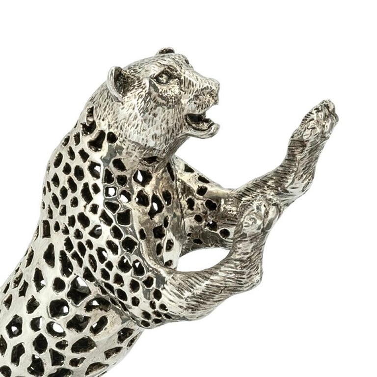 Contemporary Leopard Set of Two Bookend in Silver Plated Brass For Sale