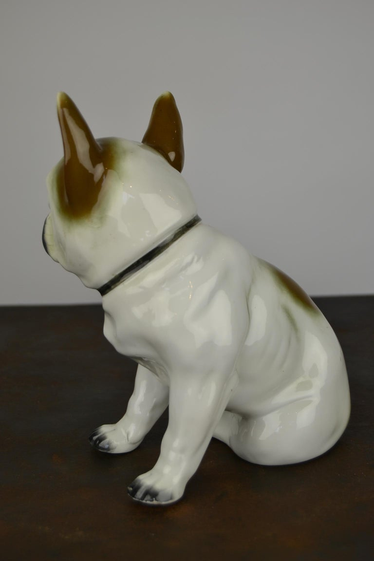 20th Century Art Deco Sitzendorf Porcelain French Bulldog Figurine For Sale