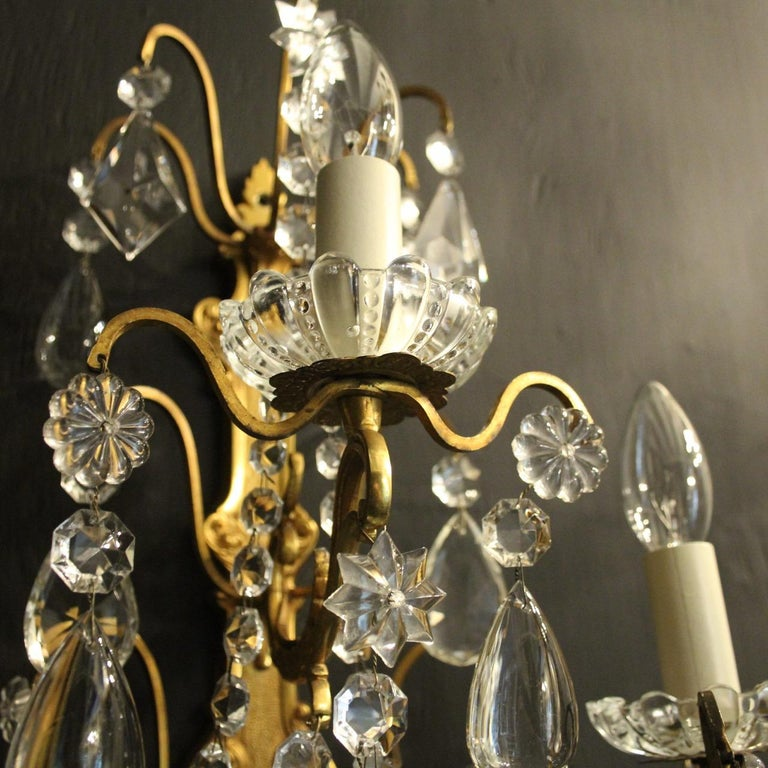 19th Century French Pair Of Gilded Bronze and Crystal Antique Wall Lights For Sale