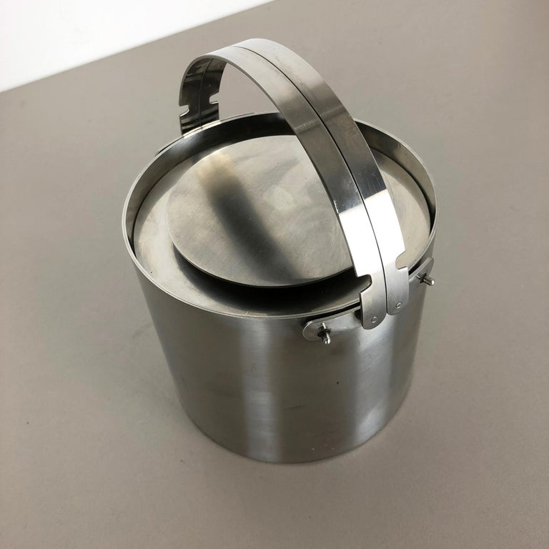 20th Century Original 1970s Cylinda Steel Ice Cube Bucket Element by Arne Jacobsen, Stelton For Sale
