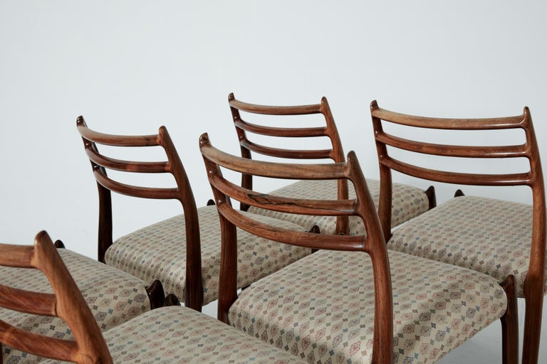 20th Century Set of Eight Model 78 Rosewood Chairs by Niels O. Møller, Denmark, 1960s For Sale