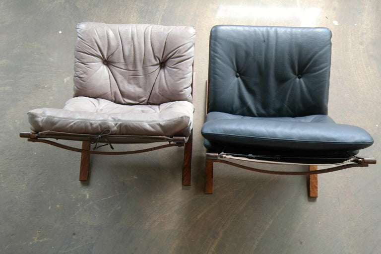 Mid-20th Century Pair of Leather Easy Chairs Model