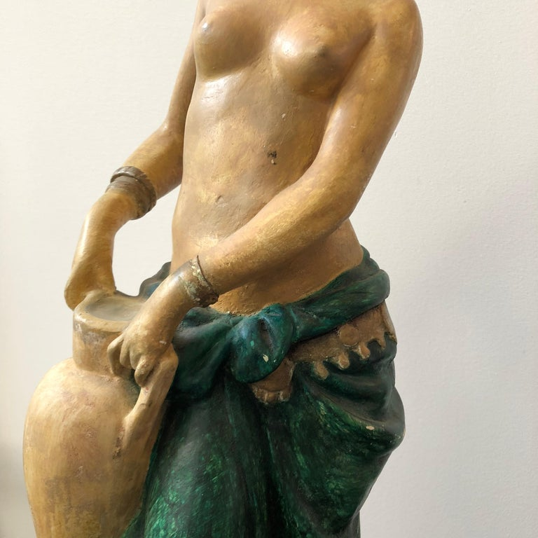 Mid-20th Century Italian Plaster Statue of a Woman with an Amphora, circa 1930 For Sale