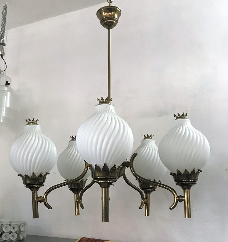 Brass Published Italian Chandelier by Angelo Lelli for Arredoluce, circa 1950 For Sale