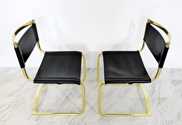d1d3c223ae58 Mid-Century Modern 8 Brass Black Leather Side Dining Chairs Breuer Mies Era  For Sale