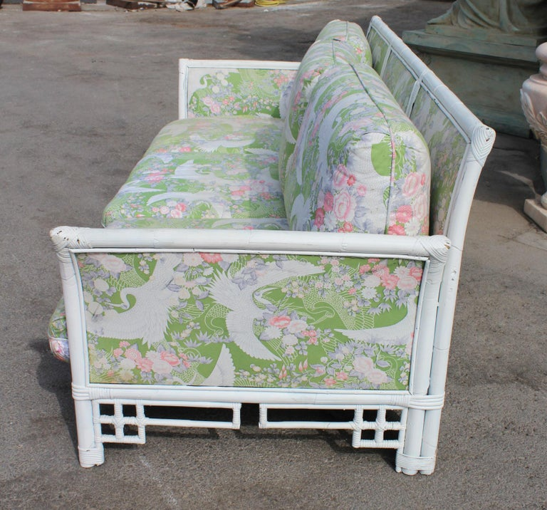 1980s Spanish Bamboo Three-Seat Sofa with Original Upholstery For Sale 2