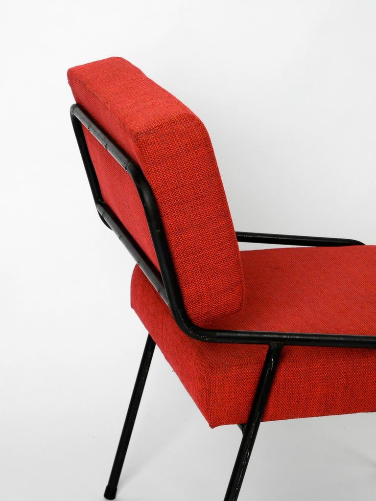 1950s Heavy Black Metal Chair Reupholstered Made in Czech Republic For Sale 1