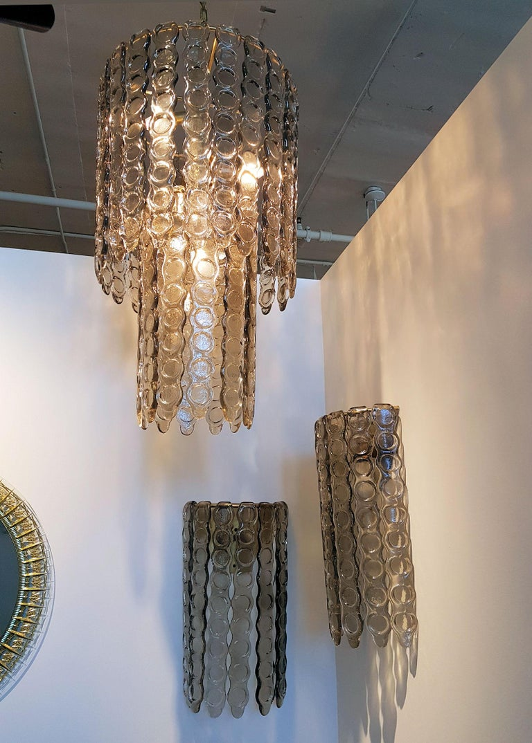 Late 20th Century Pair of Murano Smoked Glass Sconces, Mazzega Style, Mid-Century Modern, 1970s For Sale