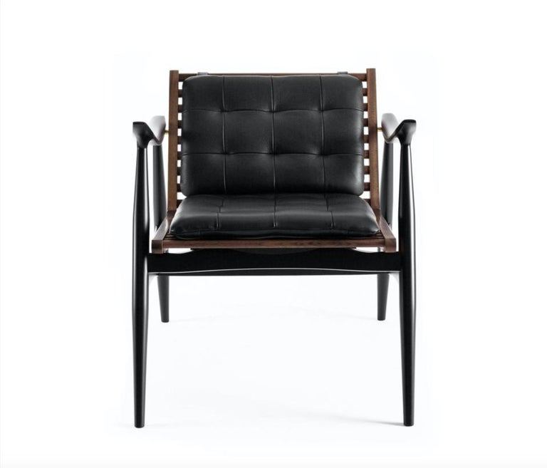 Atra Armchair, Walnut and Mahogany with Leather Pads by Atra In New Condition For Sale In San Francisco, CA