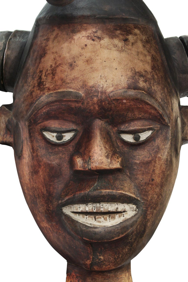 Late 20th Century Karl Springer Hand-Carved African Sculpture on Custom Suede Base, 1980s For Sale