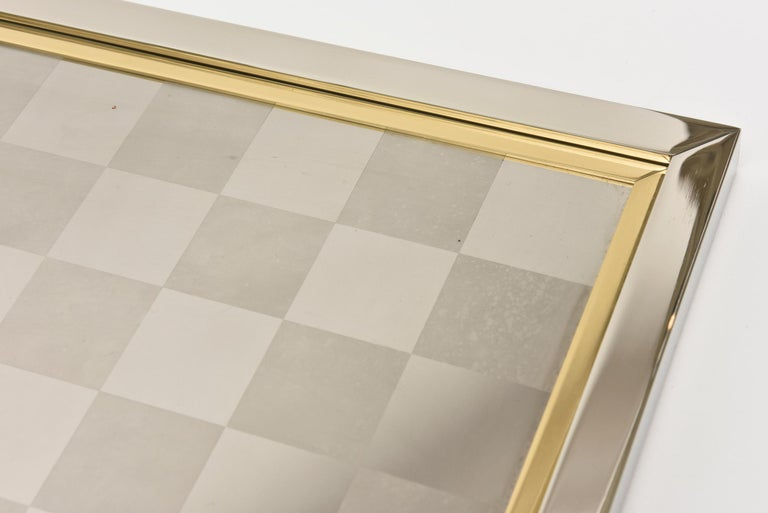 Romeo Rega Brass and Chrome Plated Checkers Game Italian Signed For Sale 1