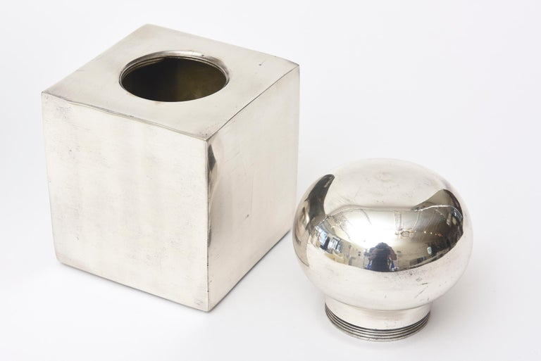 Late 20th Century Set of 3 Italian Vintage Silver-Plate Square Sculptural Boxes / Objects For Sale