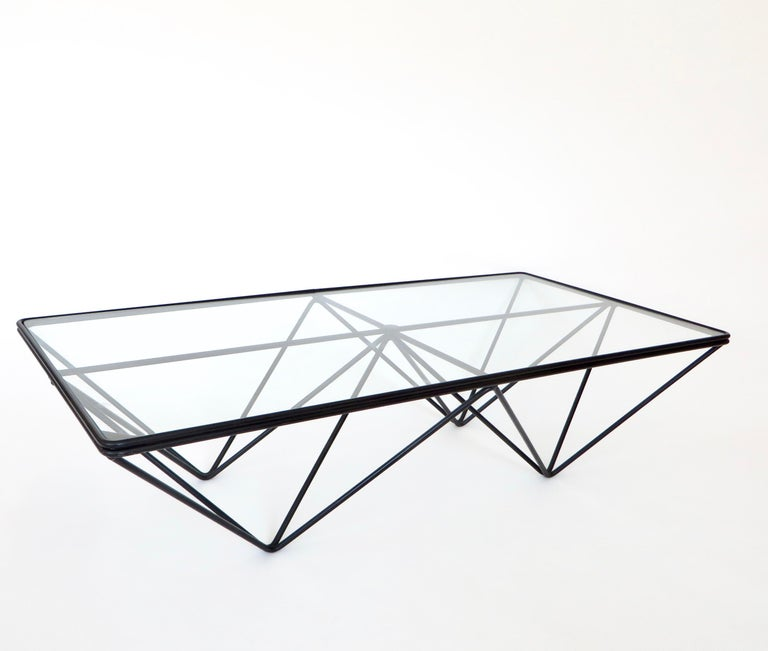 Late 20th Century Black Steel and Glass Coffee Table in The Style of Paolo Piva Alanda Table  For Sale