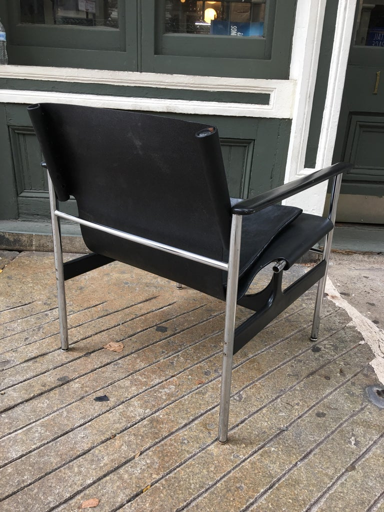 Mid-20th Century Charles Pollack for Knoll International 657 Sling Chair in Black, 1964 For Sale