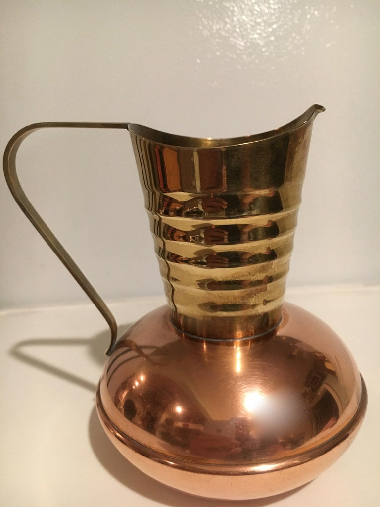 Brass and Copper Handled Sauce Liquid Pitcher In Excellent Condition In Los Angeles, CA